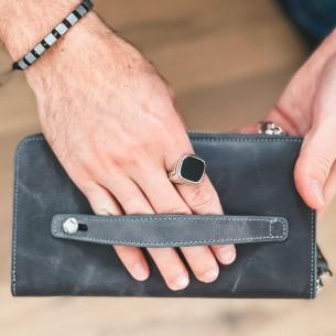 Antic Grey Leather Phone Wallet & Handbag