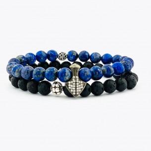 925er Silber Herren Armband mit Lapis und Lav Stein