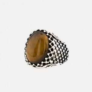 Oval Tiger Eye Stone Silver Ring