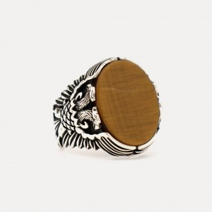 Tiger Eye Stone Double Headed Eagle Mens 925s Silver Ring