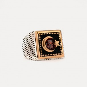 Moon Star 925s Silver Signet Ring