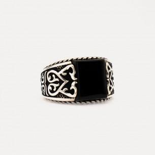 Onyx Black Stone 925 Sterling Silver Ring