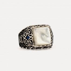 Pearl Stone Silver Men Ring