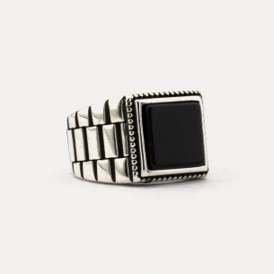 925s Silver Signet ring with Onyx Stone