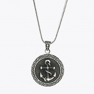 925 Sterling Silver Men's Anchor Necklace