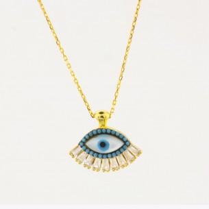 Evil Eye Necklace in Sterling Silver