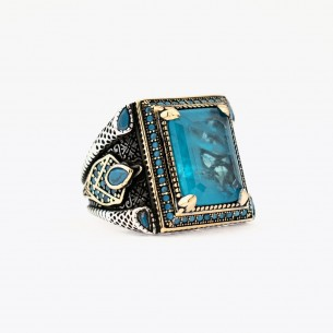 Turquoise Stone Sterling Silver Men's Ring