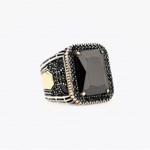 Black Onyx Stone Silver Men Ring