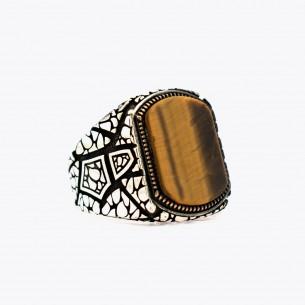 Tiger Eye 925 Sterling Silver Men's Ring