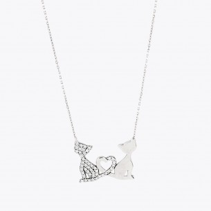 Cat Motif 925 Sterling Silver Necklace