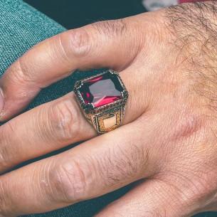 Red Zircon Stone Sterling...