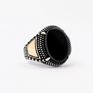 Black Onyx Stone Silver Ring