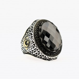 Silver Men Ring with Onyx...