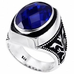 Sapphire Stone Men's Ring in 925s Silver