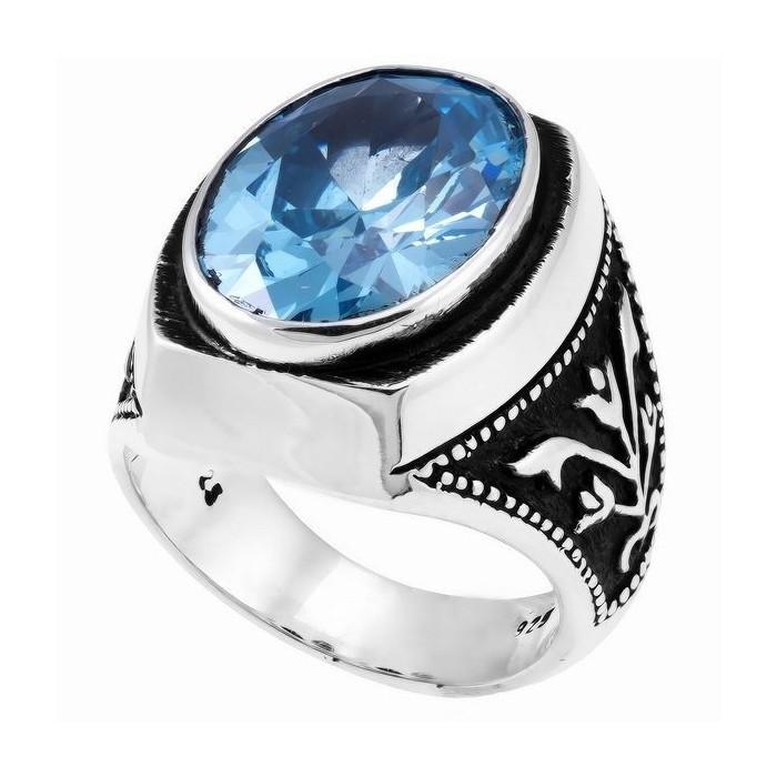Aquamarine Stone Men's Ring in 925s Silver