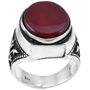 Agate Stone Mens Ring in Sterling Silver
