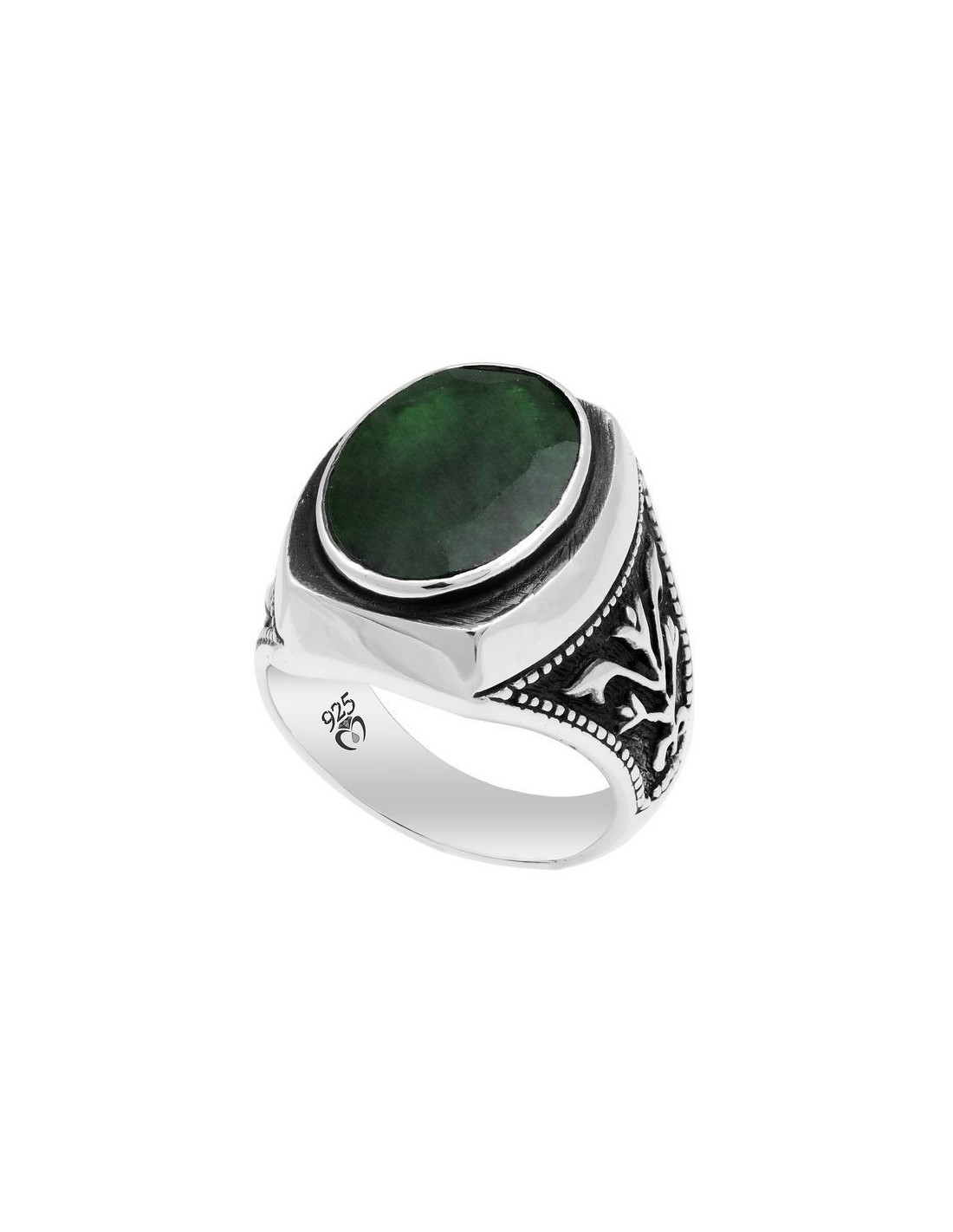 emerald mens ring in sterling silverfrom turkstyleshop silver jewelry
