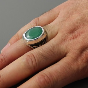 Emerald Stone Mens Ring in Sterling Silver