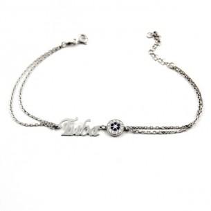 Name Bracelet with Evil Eye