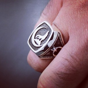 Sterling Silver Men's Ring Wolf