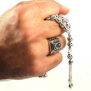 Ottoman Men's Ring  Beads Set in Sterling Silver