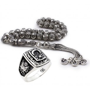 Men's Ring  Beads Set in Sterling Silver