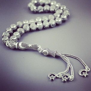 Moon Star Sterling Silver Beads / Rosary