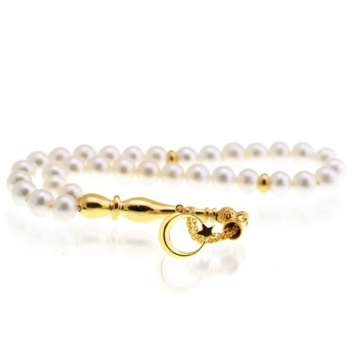 pearl stones tesbih misbaha with gold plated 925s silver tassel
