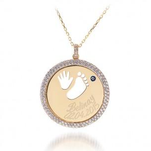 Bebek Ayak İsim ve Tarih Taşlı Gümüş Madalyon