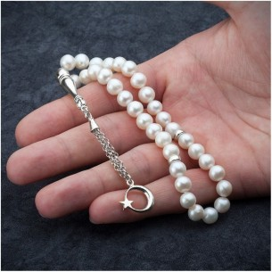 Pearl Stone Sterling Silver Prayer Beads