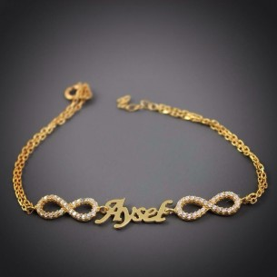 Double Infinity Personalized Silver Bracelet