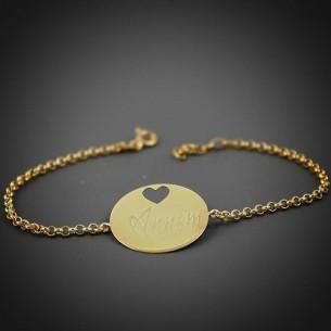 Heart Medallion Silver Bracelet