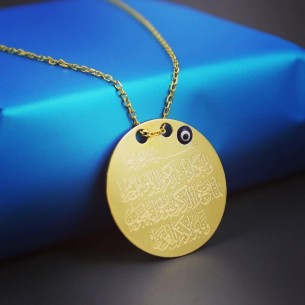 Evil Eye Protection Surat Medallion Necklace in Sterling Silver