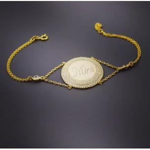 Zirconia Personalized Medallion Silver Bracelet