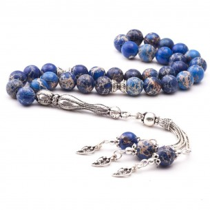 925 Ayar Gümüş Parçalı Lapis Lazuli Doğaltaş Tesbih