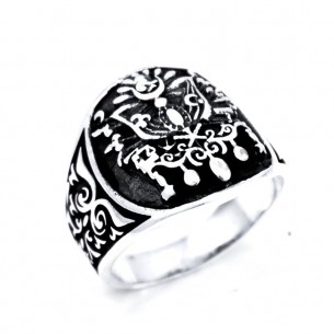 Coat of Arms of Ottoman Empire Ring in Sterling Sİlver