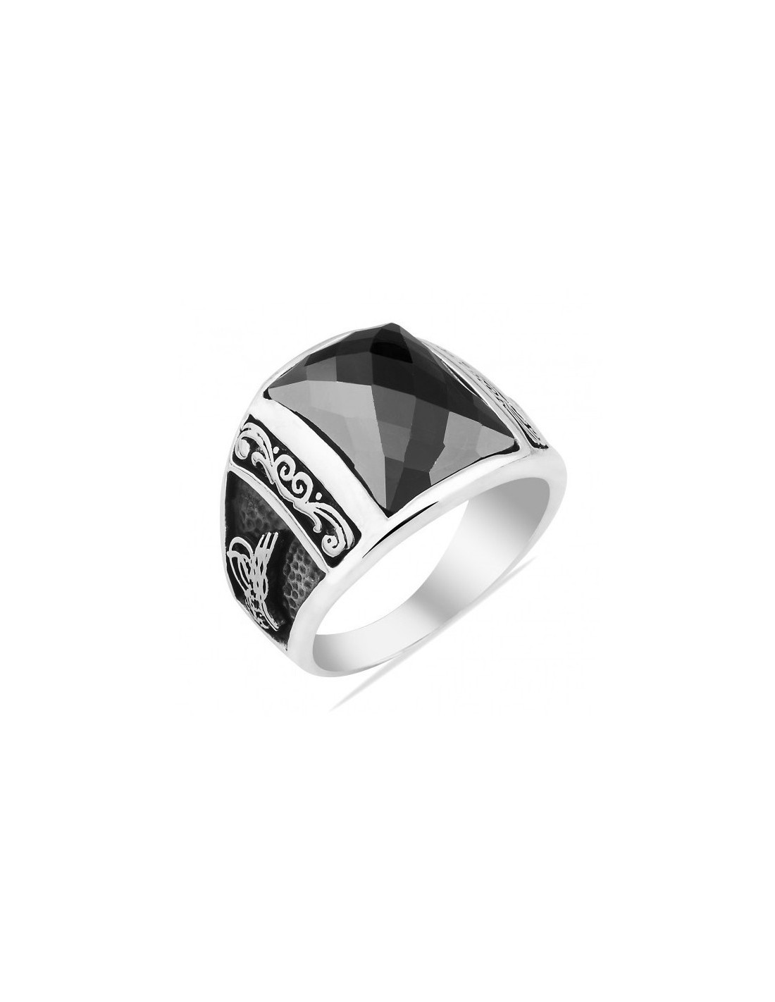 black onyx mens ring in sterling silver from turkstyleshop