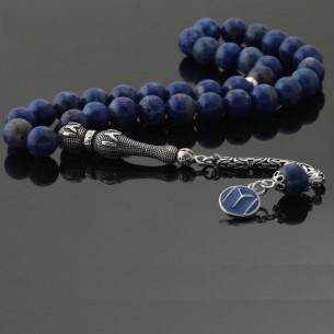 Lapis Stone Silver Tassel Prayer Beads