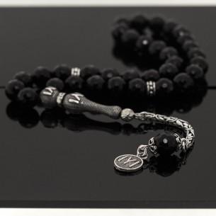 Onix Stone Silver Tassel Tesbih Prayer Beads