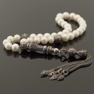 Pearl Stone Moon Star Silver Prayer Beads
