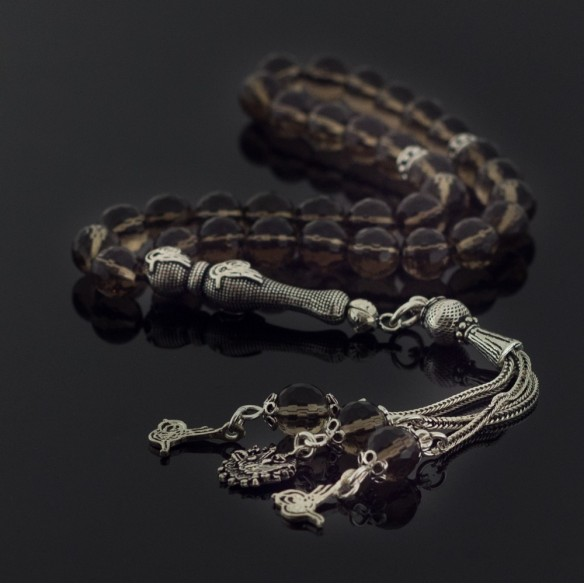 Tugra Tesbih Gebetskette mit Quarz Stein aus 925 Silber