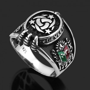 Ottoman Tugra Mens Ring in Sterling Silver