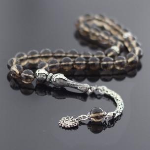 925 Ayar Gümüş Tugra Tasarim Dumanlı Kuvars Doğaltaş Tesbih