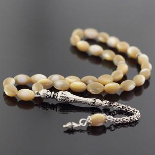 Pearl Stone Moon Star Silver Prayer Beads