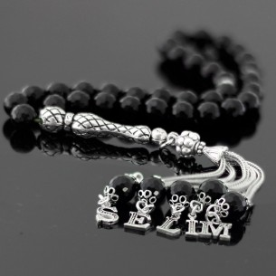 Onyx Initial Silver Prayer Beads
