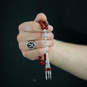 Jasper Stone Zulfikar Prayer Beads Ring Set