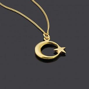 Ay Yıldız 925 Ayar Gümüş Kolye