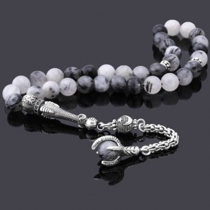 Quvars Stone Tasbih with Eagle Claw 925s Silver Tassel