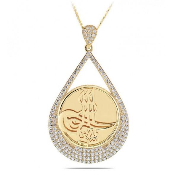 Osmanlı Tuğralı 925 Ayar Gümüş Kolye