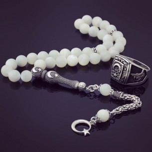 Pearl Stone Eagle Claw Silver Prayer Beads & Ring
